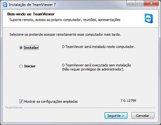 Tela inicial de instalação do Teamviewer