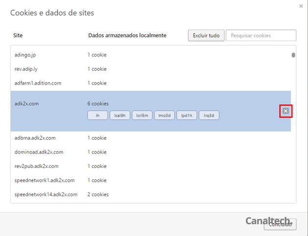 Também é possível mandar todos os cookies de um site específico para o espaço, bastando clicar no X