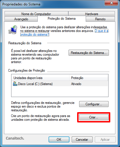 Ponto de Restauração Windows 7