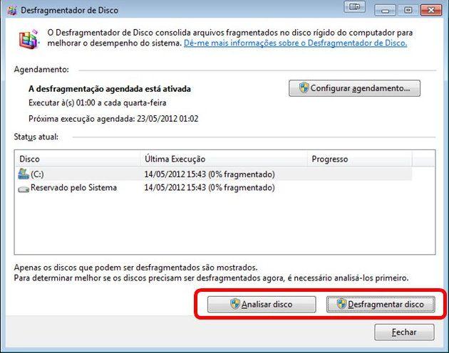 Desfragmentador de disco do Windows