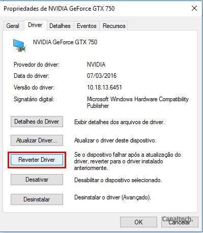 Reverter o driver geralmente resolve problemas causados pela instalação mandatória dos drivers mais atuais pelo Windows Update