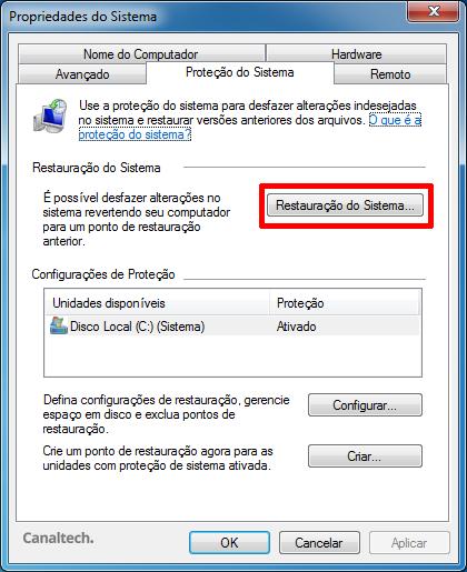 Restauração do Sistema Windows 7