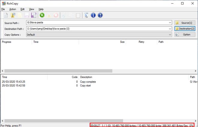 Os mesmos 388 MB/s de média foram atingidos no teste prático de leitura sequencial (Captura de tela: Sergio Oliveira)
