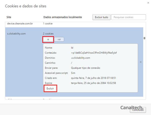 É possível gerenciar os cookies individualmente, bastando clicar no site desejado e nos seus respectivos registros