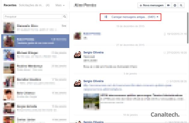 No site convencional do Facebook, role as mensagens até ver o número exibido ao lado de