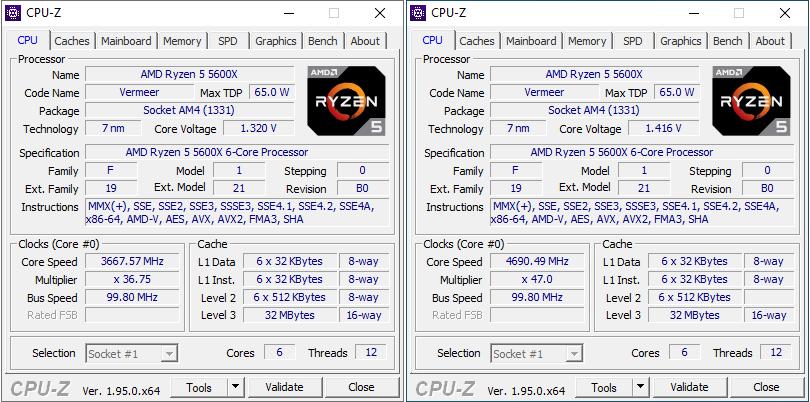 Dados fornecidos pelo CPU-Z sobre o Ryzen 5 5600X: à direita, configurações stock; à esquerda, overclock @ 4,7 GHz