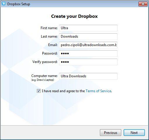 Cadastro de uma conta no Dropbox