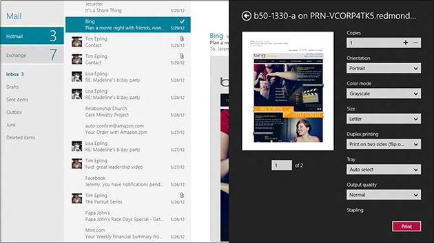Mail rodando no Windows 8