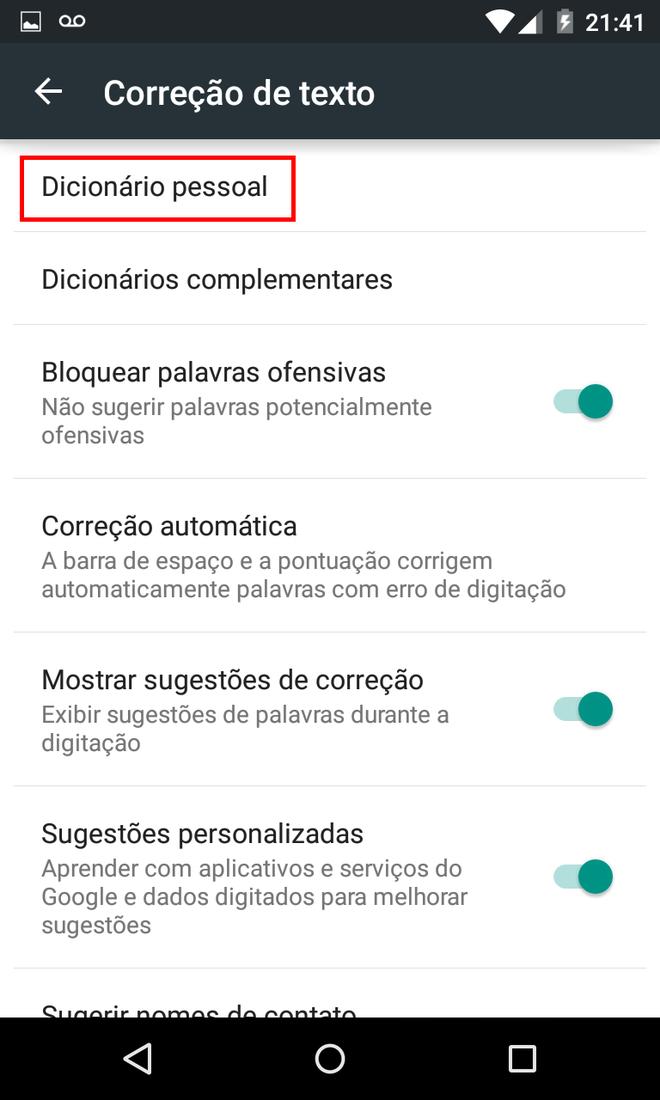 Aprimorar autocorretor do Android