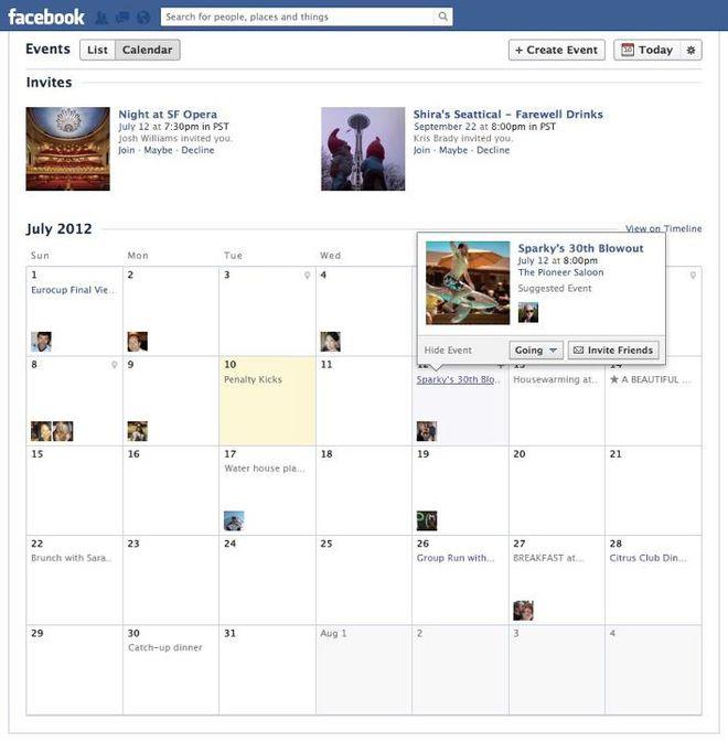 Calendário Facebook