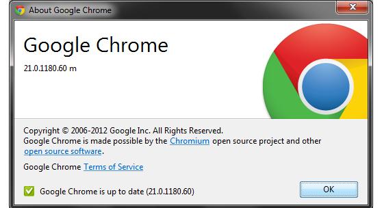 Atualização Google Chrome 21