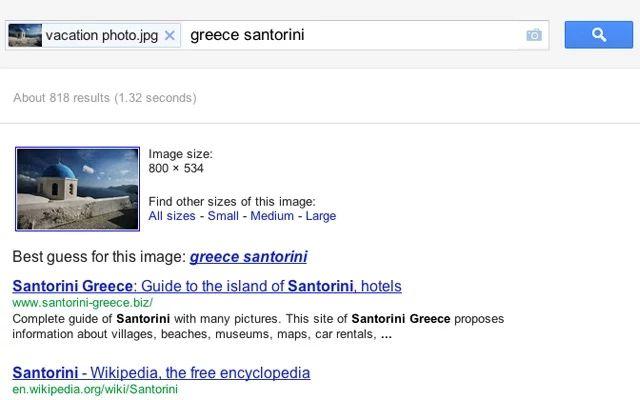 O Search by Image usa o sistema do Google Images para buscar por informações sobre uma imagem específica