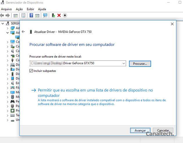 Indique o local onde os drivers baixados estão armazenados e deixe o Windows cuidar do restante após clicar em Avançar