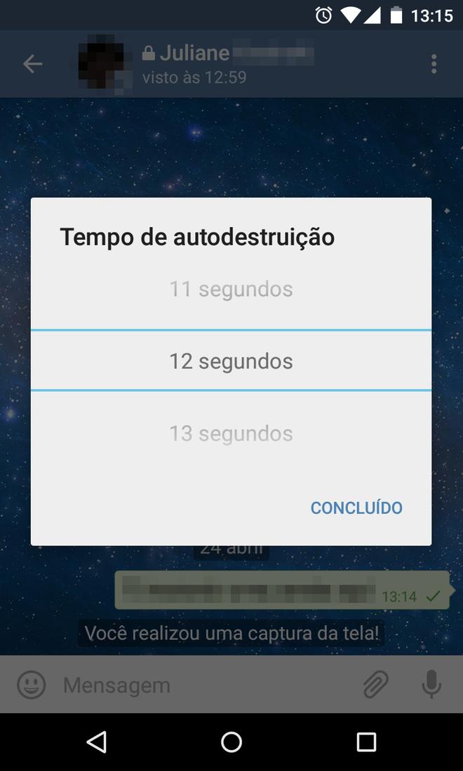 Chat secreto no Telegram
