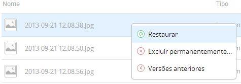 Clicando com o botão direito no arquivo é possível restaurá-lo