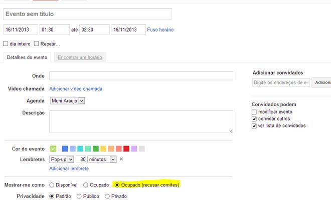 Google Agenda - Recusar eventos