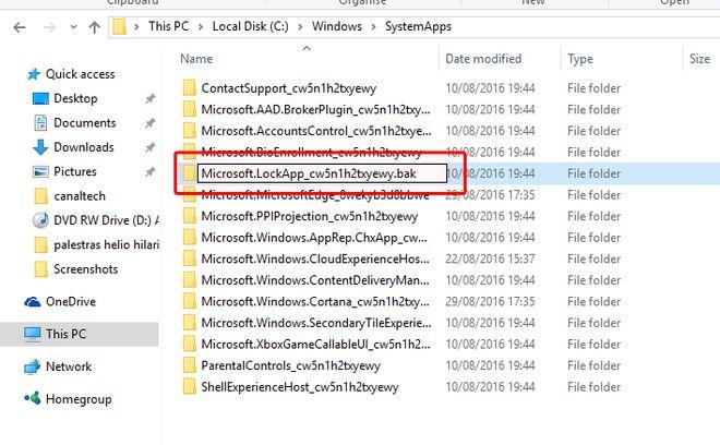 tela bloqueio windows 10