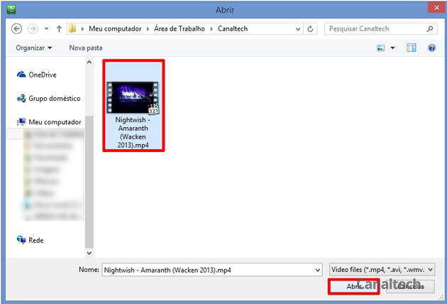 Na janela de seleção, procure pelo arquivo que deseja extrair o áudio e confirme clicando no botão