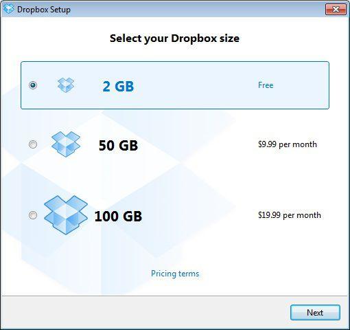 Seleção de planos Dropbox