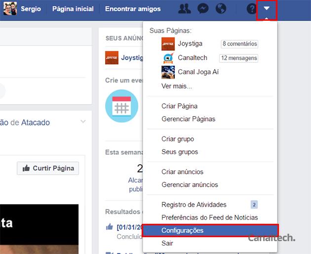 Para começar, acesse as configurações da sua conta no Facebook