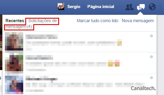 Há algum tempo o Facebook alterou a forma como somos notificados sobre mensagens recebidas de estranhos. Agora elas aparecem como solicitações de mensagem