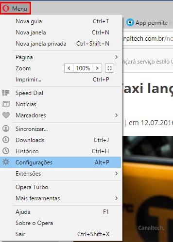 Para começar, acesse o menu do Opera e busque pela opção Configurações