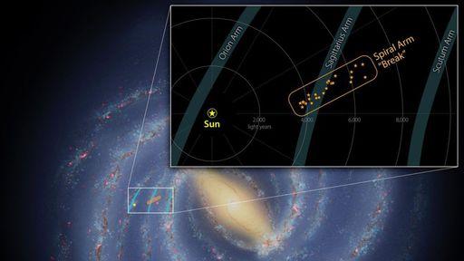 """Estrutura descoberta na Via Láctea pode ser um """"braço quebrado"""" da galáxia"""