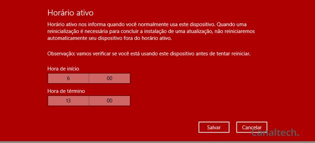Indique o intervalo de tempo em que você costuma estar na frente do PC para que o Windows não aplique atualizações nem queira reiniciá-lo sem seu consentimento