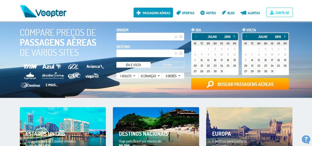 Sites para pesquisar passagem aérea