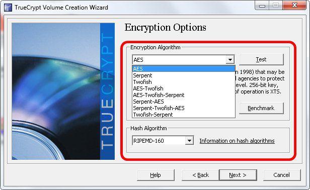 5 - Escolha do algoritmo criptográfico no Truecrypt