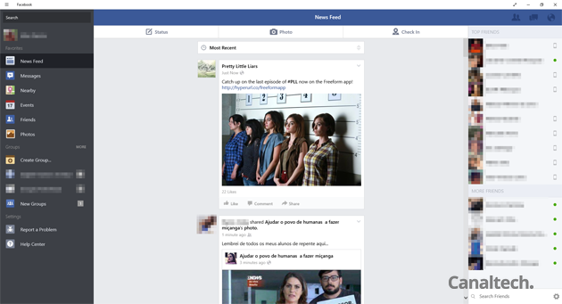 O app do Facebook para Windows 10 é um dos principais exemplos de app universal - ele funciona tanto no Windows 10 para desktop quanto para mobile