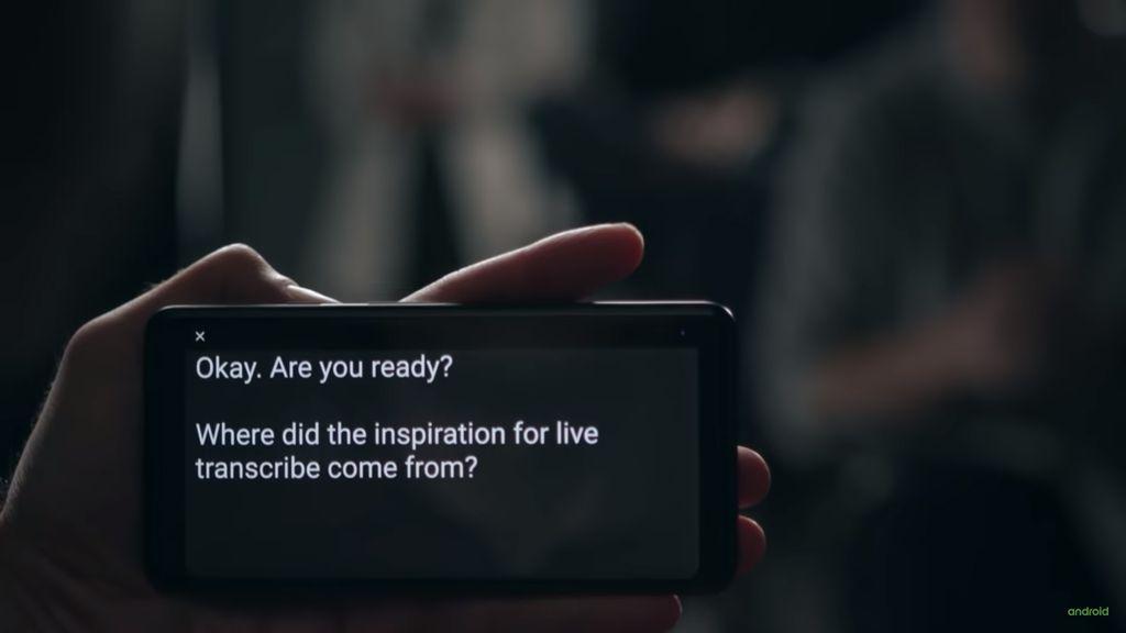 Tela do Live Transcribe em uso