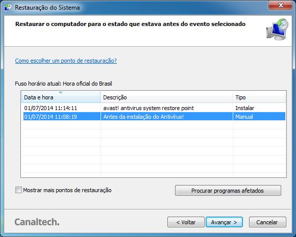 Lista Pontos de Reauração Windows 7