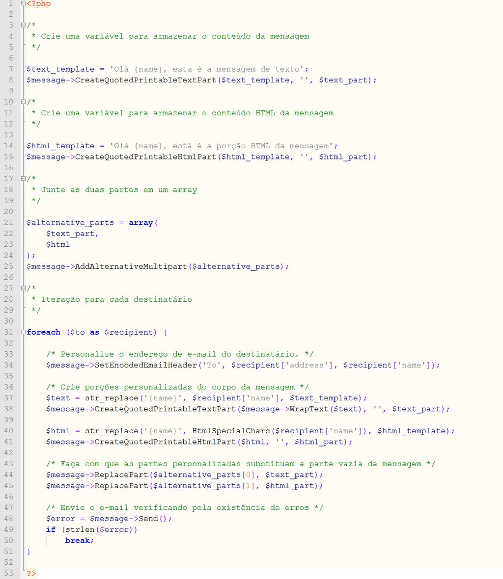 Código envio e-mail em massa PHP