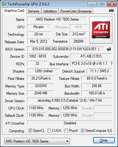 Dados do GPUz da HIS Radeon HD 7870 IceQ-X