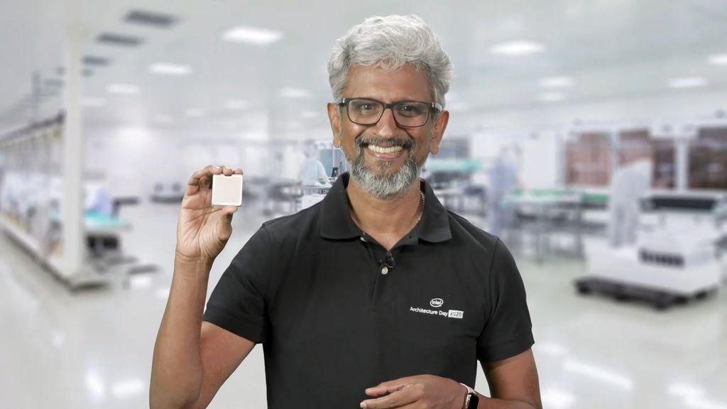 Arquiteto-chefe da Intel, Raja Koduri apresenta chip Xe-HP singe-tiled: componente também terá versão dual-tiled e quad-tiled para servidores de altíssima performance