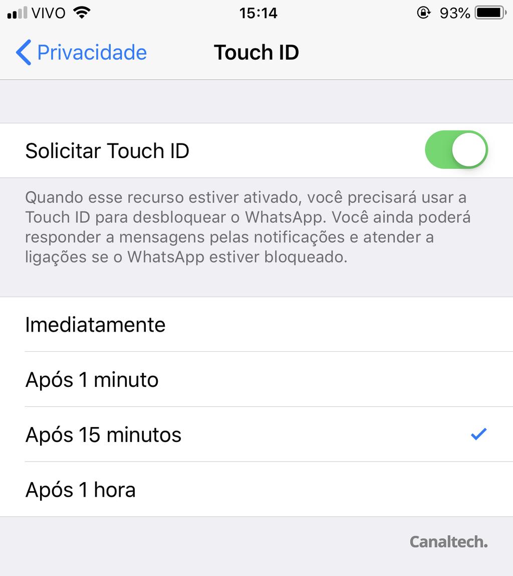 Ative a nova funcionalidade do WhatsApp ligando a chave de seleção