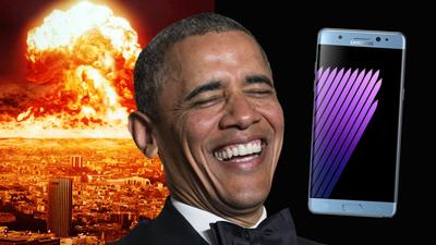 Obama tira sarro do Galaxy Note 7 explosivo