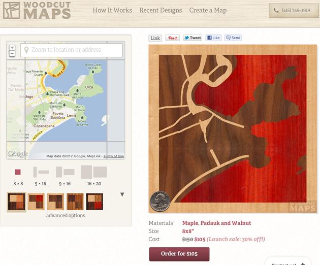 Mapa de madeira do Rio de Janeiro