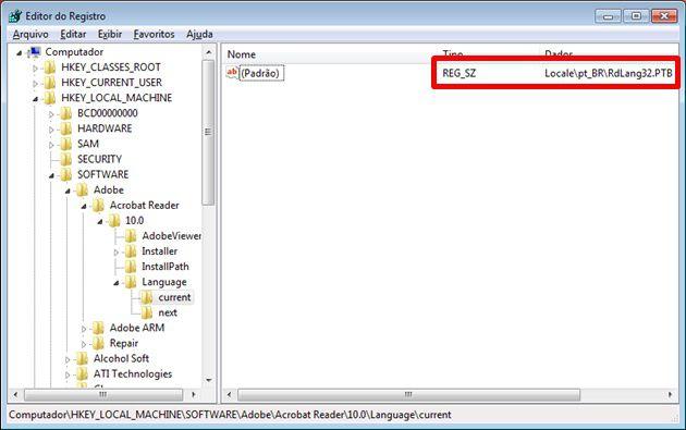 Caminho no registro para ver as configurações de linguagem do Adobe Reader