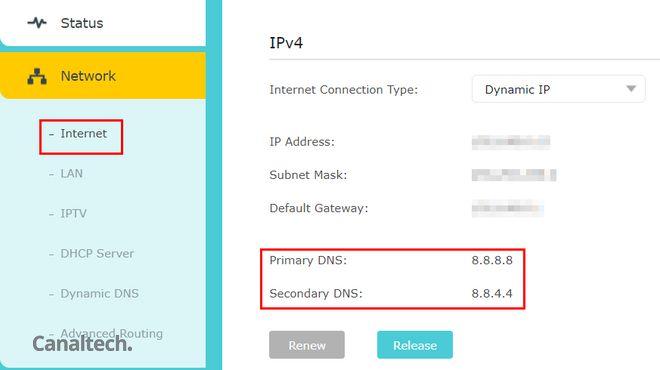Alterar o servidor DNS diretamente no roteador faz toda sua rede utilizar o mesmo DNS