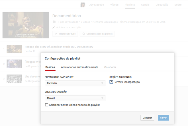 Playlists YouTube