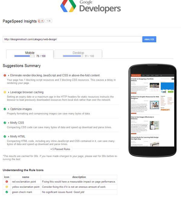 Ferramenta gratuita de teste de velocidade de sites, Google PageSpeed Insights