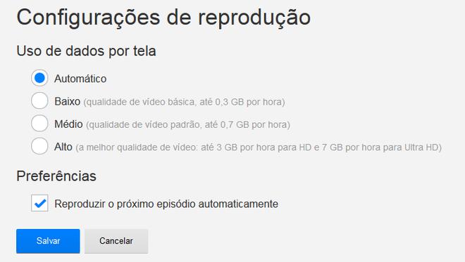 Configurações Netflix