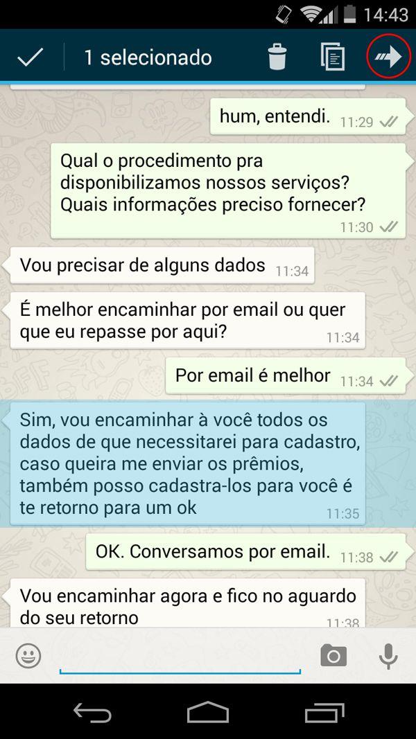 Whatsapp - Encaminhar mensagem