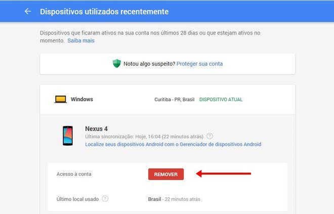 Remover acesso do Google