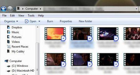 Thumbnails dos vídeos