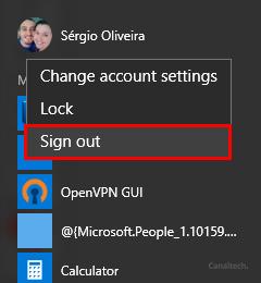Depois disso, faça o logoff da sua conta clicando sobre sua imagem de perfil e logo depois em Sign Out