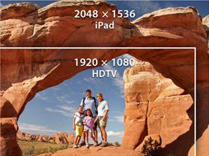 Diferença de resolução entre um iPad e a TV Full HD