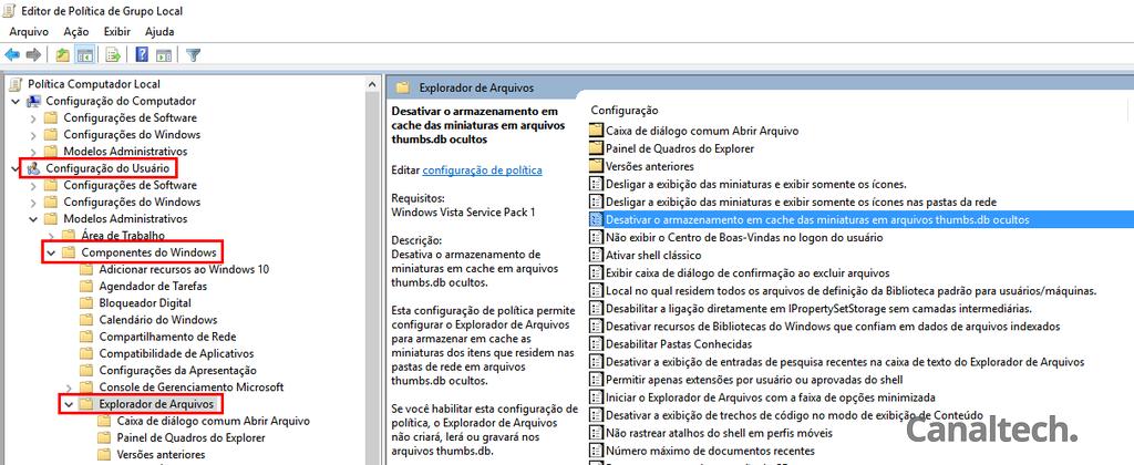 É possível impedir o Windows de criar arquivos thumbs.db editando esta política de grupo local no editor do sistema